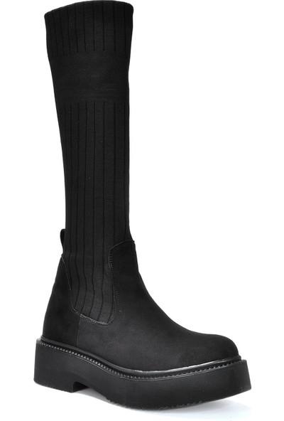 Vizon Kadın Siyah-Triko Çizme VZN19-156K