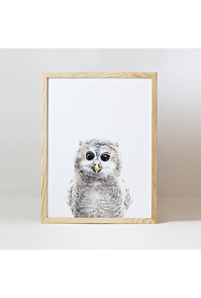 Minik Ayı Baby Animals Ahşap Çerçeve - Yavru Baykuş