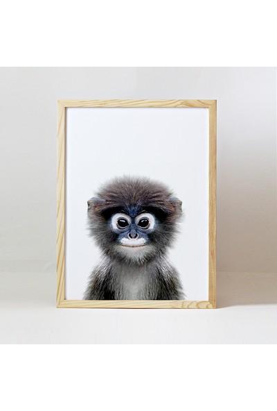 Minik Ayı Baby Animals Ahşap Çerçeve - Yavru Maymun