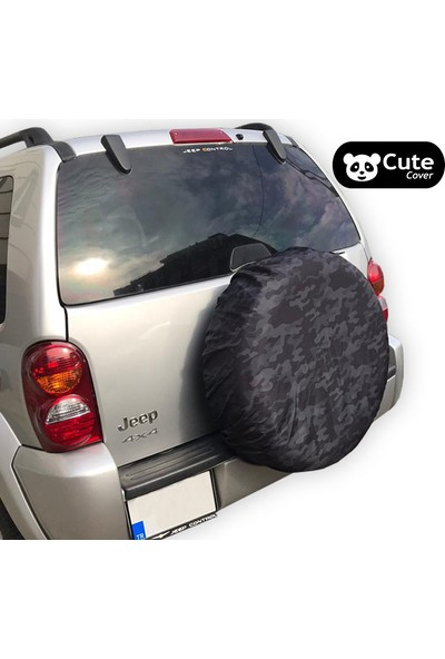 Cute Cover Stepne Kılıfı Lastik Koruyucu Siyah Kamuflaj