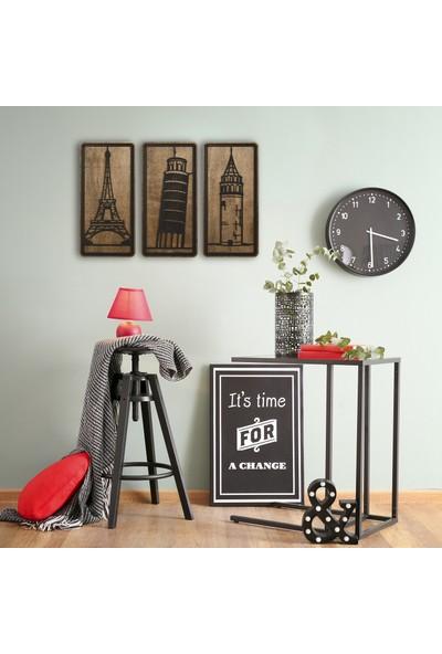 MadamVila 3 Parça Eyfel Galata Pisa Kulesi Dekoratif Ahşap Duvar Tablosu