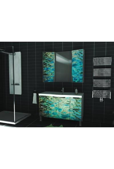 Artila Işıklı Kapaklı Su Yüzeyi Seramik Tezgahlı Banyo Dolabı 120 x 200 cm