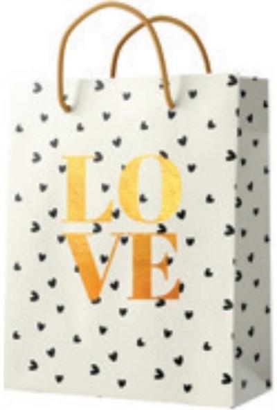 Love Desen Karton Çanta XL 34 x 42 x 12 cm
