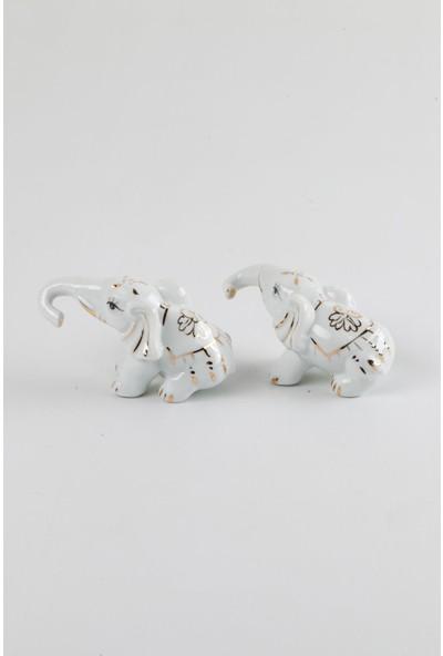 Dünyadan Hediyeler Porselen İkili Fil Biblo