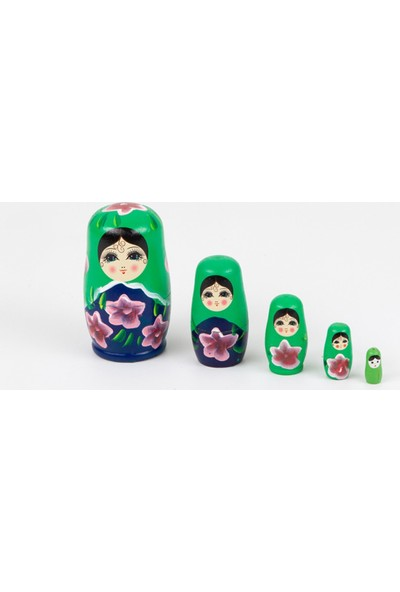 Dünyadan Hediyeler Ahşap Matruşka Bebek 5 li Set Yeşil