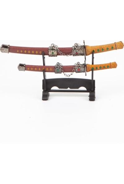 Dünyadan Hediyeler Standlı İkili Samuray Kılıcı Zarf Açacağı Kahve