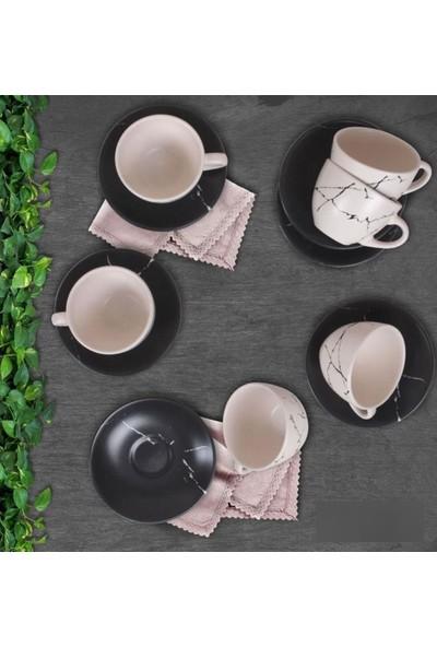 Keramika 12 Parça Nescafe Seti Siyah Mat Transparan Beyaz