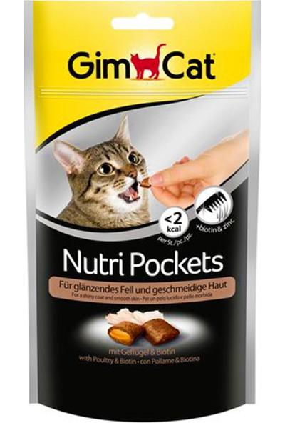 Gimcat Nutri Pockets 60 gr x 4 Adet Tüy Sağlığı Kümes Hayvanı Eti ve Biotinli Kedi Ödül Maması