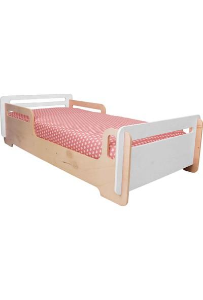Minig Doğal Kontrplak Pratig Beyaz Yatak Model 1