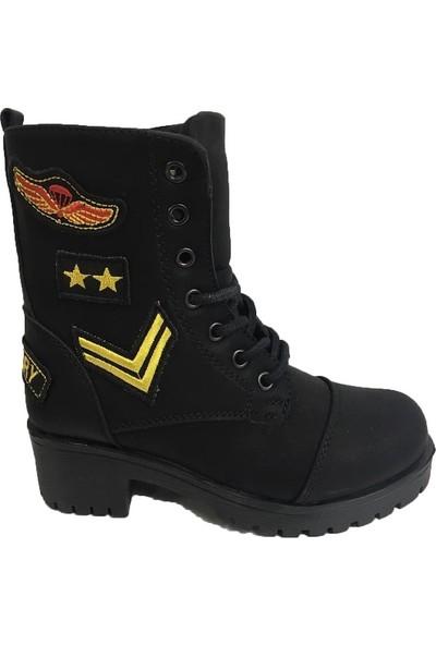 Punto 676179 Siyah Bağcıklı Fermuarlı Kız Çocuk Bot Ayakkabı