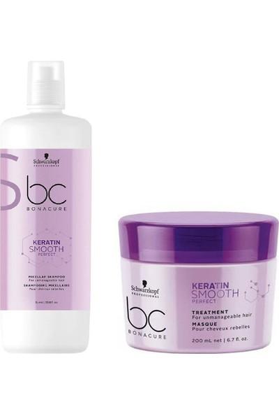 Schwarzkopf Bonacure Keratin Smooth Perfect Şampuan 1000 ml + Kür Maske 200 ml