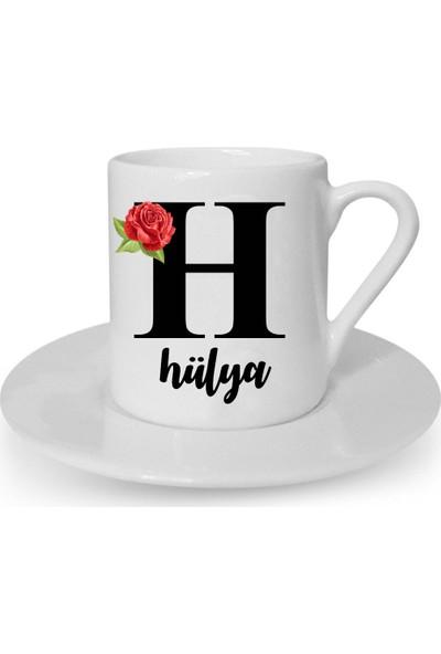 Mutlu Mutfak Atölye Kişiye Özel Türk Kahvesi Fincanı H Harfi İsimli