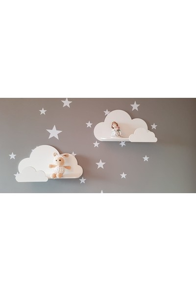 Hepsi Tedarik Beyaz Bulut Dekoratif Çocuk Odası Rafı