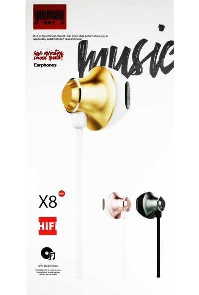 Yinwoxing X8 Mikrofonlu Kulakiçi Kulaklık Gold