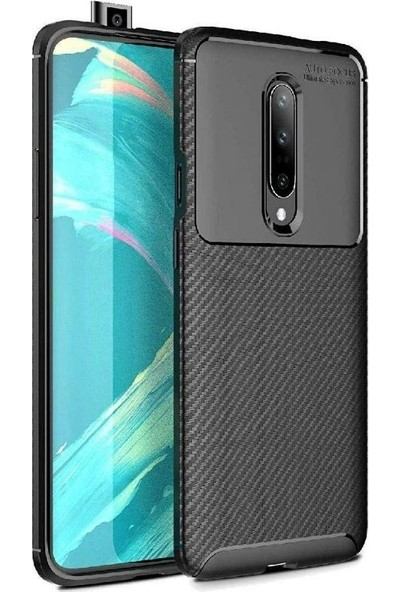 Tbkcase OnePlus 7 Pro Negro Karbon Silikon Kılıf Siyah