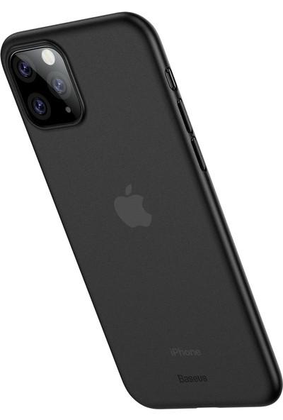 Vendas Apple iPhone 11 Pro Max İnce Silikon Kılıf Füme + Vendas Tam Kaplama Ekran Koruyucu