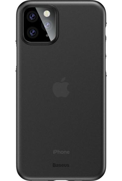 Vendas Apple iPhone 11 Pro İnce Silikon Kılıf Füme + Vendas Tam Kaplama Ekran Koruyucu