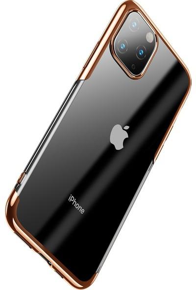 Vendas Apple iPhone 11 Pro Max Shining Serisi Silikon Kılıf Gold + Vendas Tam Kaplama Koruyucu