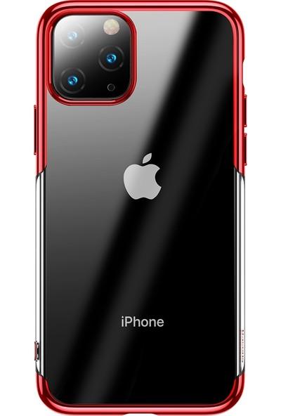 Vendas Apple iPhone 11 Pro Max Shining Serisi Silikon Kılıf Kırmızı + Vendas Tam Kaplama Koruyucu