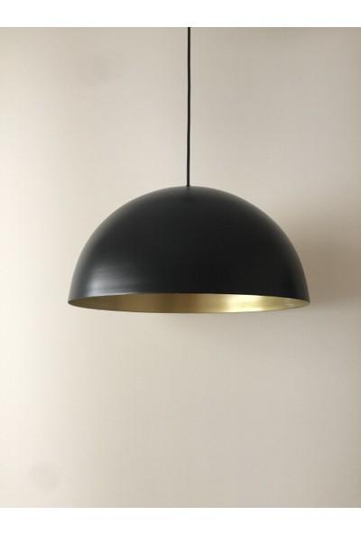 Riolight Metal Siyah İçi Sarı Sarkıt Çap40 cm