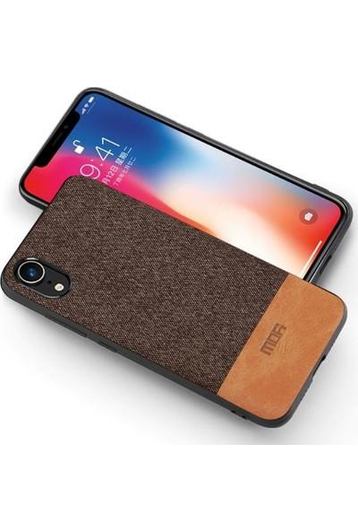Mofi Apple iPhone XR Kumaş TPU Kılıf Kahverengi
