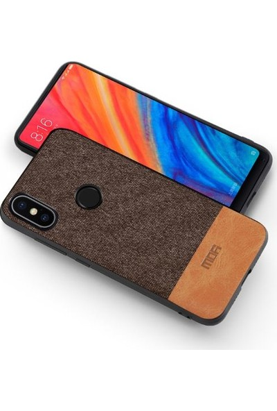 Mofi Xiaomi Mi 8 Kumaş TPU Kılıf Kahverengi