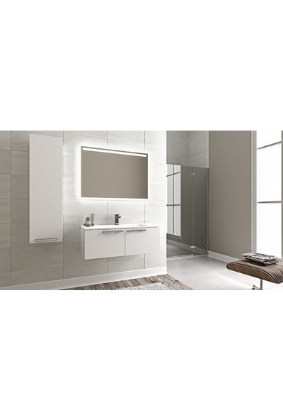 Bagnotti Aries 100 cm Glossmax Parlak Beyaz Banyo Dolabı
