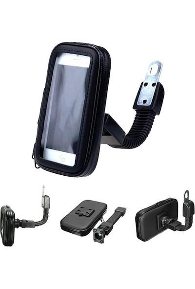Knmaster Ayna Bağlantılı Su Geçirmez Motosiklet Bisiklet Telefon Tutucu M