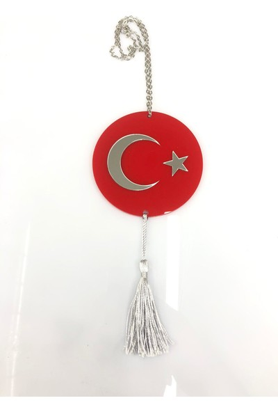 Appcity Türk Bayrağı Pleksi Dikiz Aynası Süsü (Kabartmalı Tasarım)