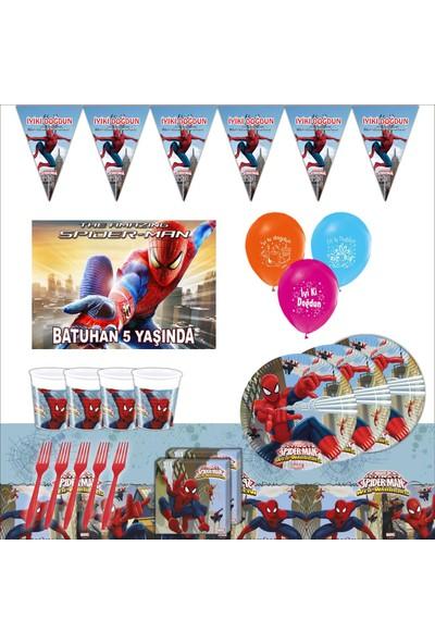Bayhesaplı Spiderman Örümcek Adam Kişiye Özel Afişli Doğum Günü Parti Seti 16 Kişilik
