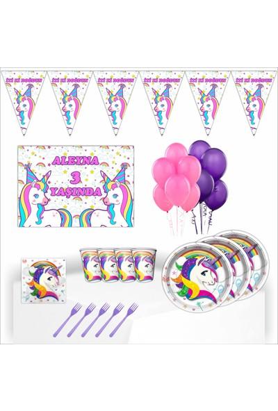 Bayhesaplı Unicorn Kişiye Özel Afişli Doğum Günü Parti Seti 16 Kişilik
