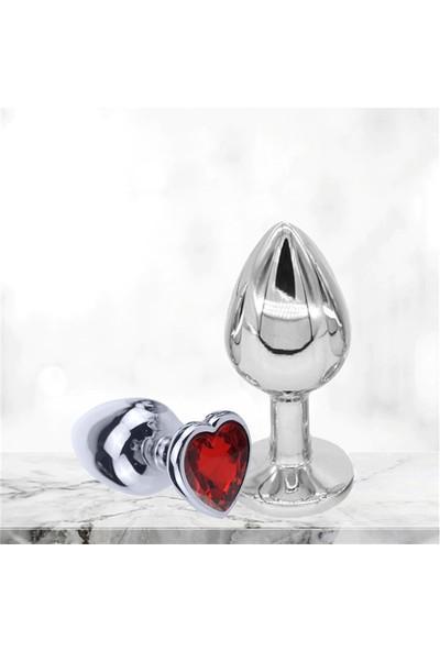 Dr. Love Yetişkinler Için Kırmızı Kalp Taş Desenli Metal Anal Plug Tıkaç