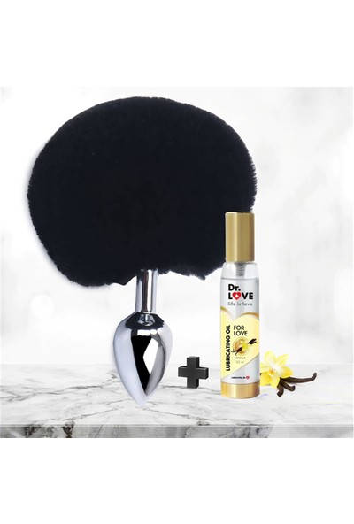Dr. Love Metal Anal Plug Ponpon Siyah + Drlove Kayganlaştırıcı Jel