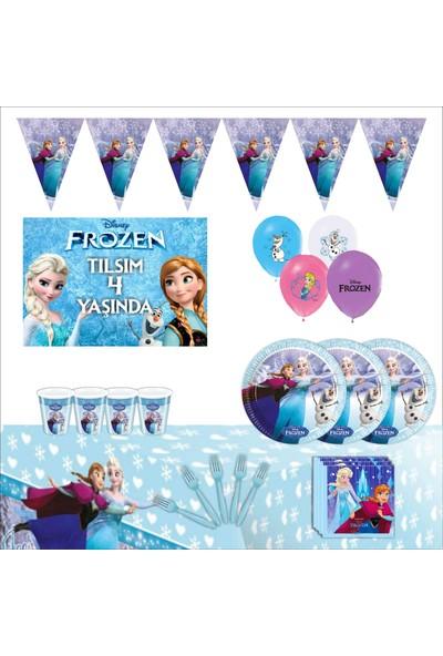Elsa Frozen Kişiye Özel Afişli Doğum Günü Parti Seti 8 Kişilik