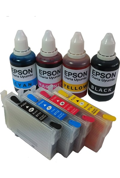 Duruink Epson T0891/T0894 Kolay Dolan Kartuş Seti + 4 x 100 ml