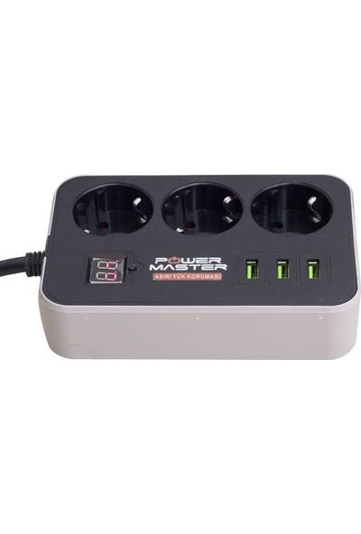 Powermaster PM-18530 3 USB Çıkışlı 3'lü 10A-2500 W 1.8 mt Akım Korumalı Priz