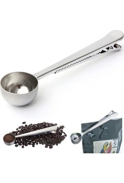 Cin Paslanmaz Çelik Kahve Ölçü Kaşığı ve Paket Klipsi cin108