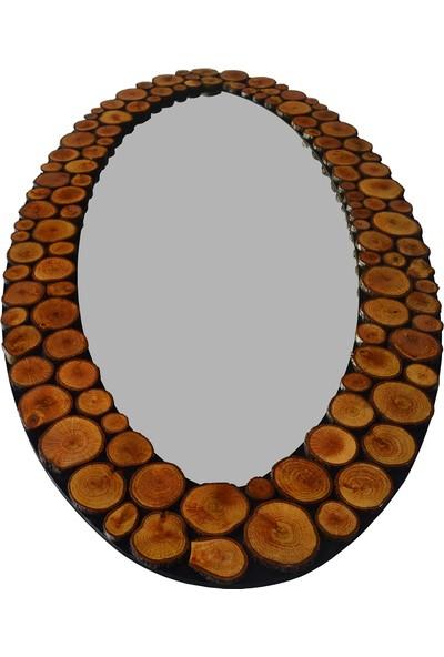 Dfn Wood Doğal Ahşap Oval Dekoratif Duvar Salon Boy Ofis Aynası