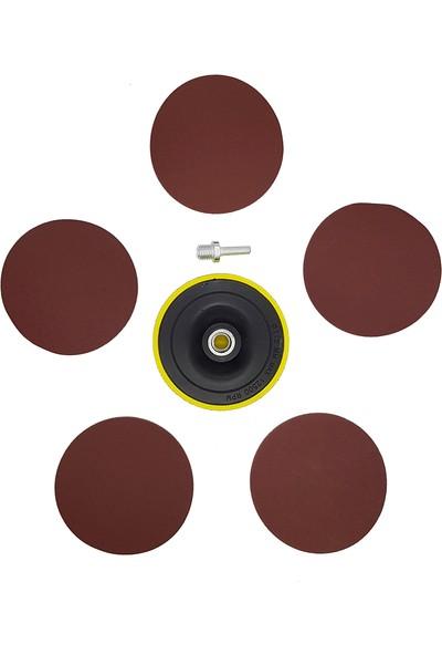 Merttools Cırtlı Disk Zımpara Altı Seti Matkaba Takılır Aparatlı 7 Parça