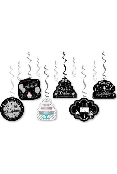 Datapos Yetişkin Doğum Günü Siyah Gümüş 6'lı Tavan Sarkıt Yay Süs Set