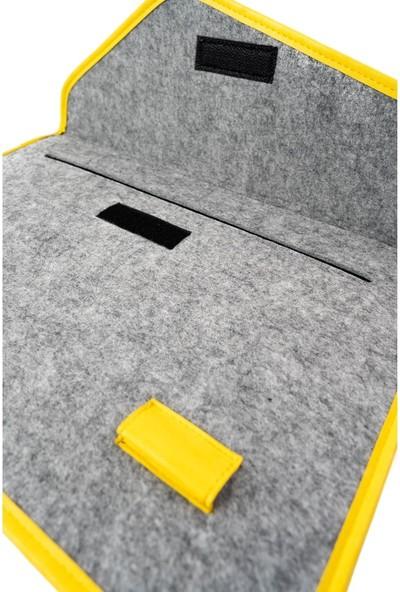 Minbag Aba Keçe Laptop Çantası ve El Portföyü - Gri - Sarı