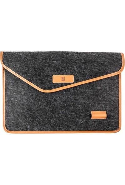 Minbag Aba Keçe Laptop Çantası ve El Portföyü - Koyu Gri - Taba