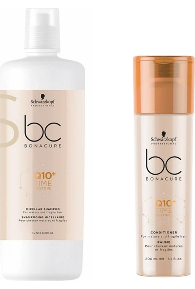 Schwarzkopf Bonacure Q10 Time Restore Şampuan 1000 ml + Saç Kremi 200 ml