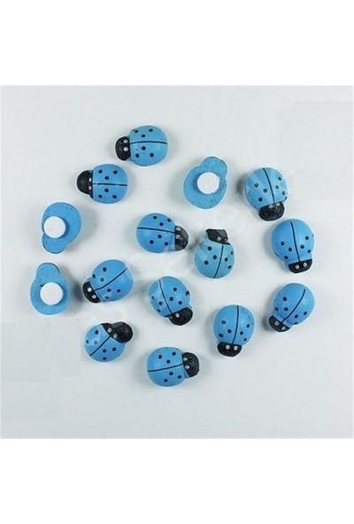 Masal Diyarı Mavi Ahşap Yapışkanlı Uğur Böceği 10 Adet