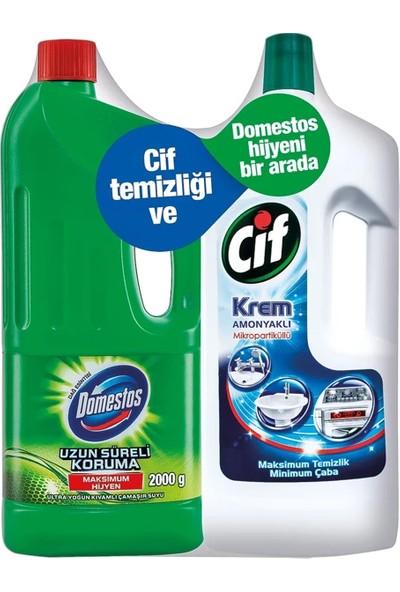 Domestos Ultra Çamaşır Suyu Dağ Esintisi 2 kg + Cif Krem Amonyaklı 1500 ml