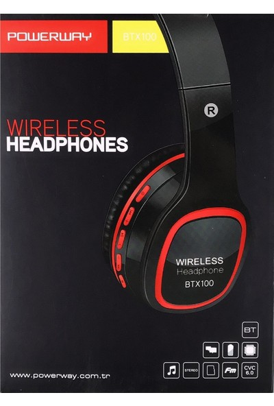 Powerway Kulak Üstü Bluetooth Kulaklık BTX100 Kırmızı