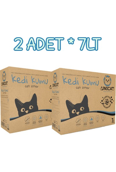 Unicat Kedi Kumu Doğal Aktif Karbonlu 7 l x 2 Adet