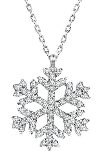 925 Ayar Gümüş Rodyum Kaplama Zirkon Taşlı Kar Tanesi Kolye Gümüş