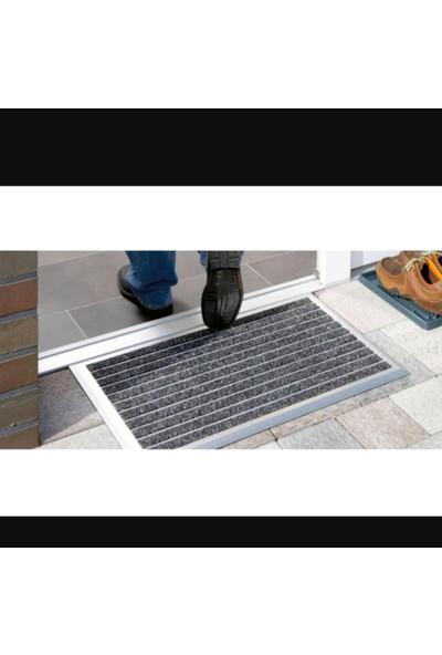Sermat Alüminyum Çerçeveli Metal Halı Fitilli Kapı Paspası - 70 x 140 cm Kahverengi