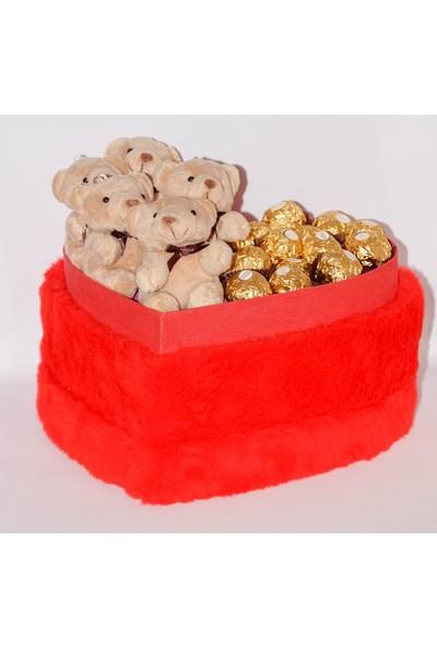 Filika Store Kırmızı Kalpli Büyük Peluş Kutuda Ferrero+Ayıcık